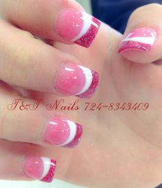 Glitter French Nails, French Acrylic Nails, French Tip Nails, Fancy Nails, Pretty Nails, Solar Nail Designs, Valentine's Day Nail Designs, Elegant Nail Designs, Acrylic Nail Designs