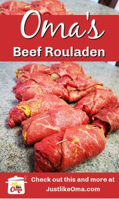 Oma's Beef Rouladen Recipe❤️-Oma's Beef Rouladen Recipe❤️ ❤ Wunderbar! Traditional, fun to make, and DELICIOUS! Doesn't get much better than that! Rouladen Recipe, Beef Rouladen, German Rouladen, Meat Recipes, Cooking Recipes, Delicious Recipes, Austrian Recipes, German Food Recipes, Austrian Food