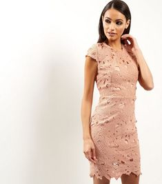 89dfbf35b2 AX Paris Shell Pink Crochet Lace Cap Sleeve Midi Dress
