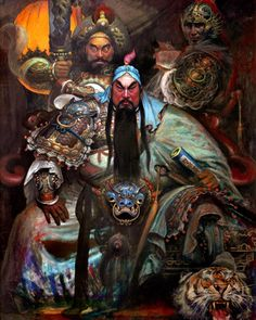 Image may contain: 3 people, indoor Buddha Kunst, Buddha Zen, Fantasy Paintings, Fantasy Art, Chinese Fairy Tales, Oriental, Guan Yu, Frog Tattoos, Samurai Artwork