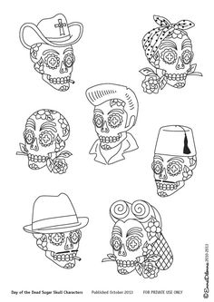 Inspired by El Dia de los Muertos, which honours our beloved dead, here are my digitally drawn original designs of various Sugar Skull