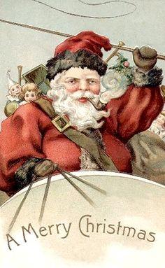 Beautiful vintage Santa wishing you a Merry Christmas.  Isn't the detail stunning?