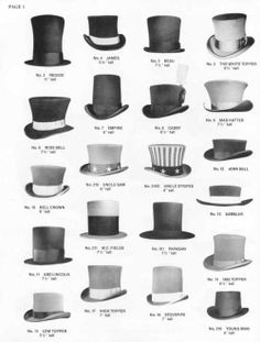 my-ear-trumpet:    doffyourhat:    Headgear. From the ludicrous tothe lavish, top hats areiconic.  Nothing says old-timey goodness - orstage magician -quite like it. Perfect for concealing important documents, lethal weaponry, or prehaps small animals, even.