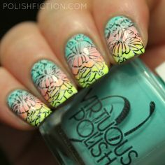 Gradient nail art with Virtuous Polish Naomi, Ruth and Magdalene and double stamping
