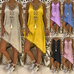 22f21eedee1 Summer Women Fashion Sleeveless Spaghetti Strap Mini Dress Sexy Lace  Stitching Loose Chiffon Dress Casual Solid Color Irregular Dresses Plus Size