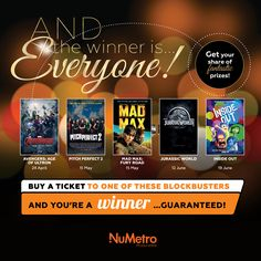 Catch one of these 5 blockbusters at Nu Metro this season and WIN. Pitch Perfect, Mad Max, Jurassic World, You Got This, Goodies, Sweet Like Candy, Good Stocking Stuffers, Its Ok