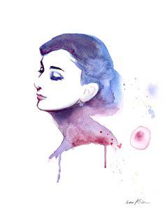 Audrey Hepburn Elegant Profile - Watercolor art print