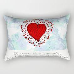 El Amor es un Secreto que los ojos no saben guardar Rectangular Pillow  dia del amor y la amistad, regalo para novia, novio, esposa o marido, frase bonita para toda ocasion, el amor nunca muere, el corazon enamorado