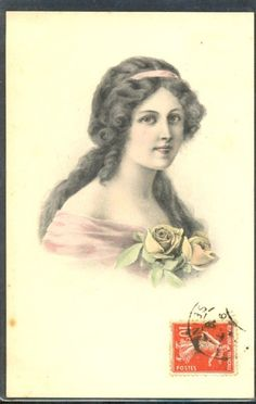 JT139 VIENNE artist signed Illustrateur FEMME BEAUTIFUL LADY ROSES BKWI