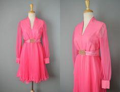 Vintage 60s Dress // 1960s Hot Pink Party Dress // Small #vintage #vintageclothing #pink #megandraper #mod #madmen #etsy