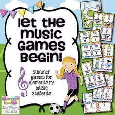 Let the Music Games Begin! Summer Games for Elementary Students {rhythm, notes, treble, bass, charades, draw, define, act, tpt, jeopardy, music, piano, fun!}