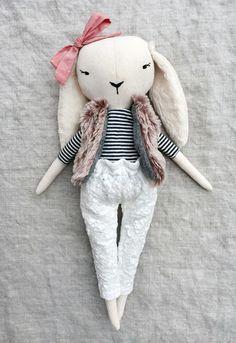 'Lapine Marine' Handmade Linen Bunny by lespetitesmainss on Etsy