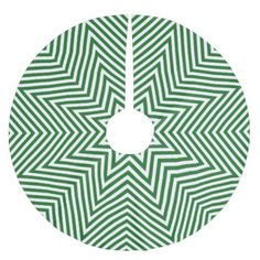 Green and White Zigzag Brushed Polyester Tree Skirt