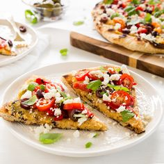 Grilled Greek Pizza with Roasted Garlic Hummus