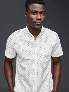 Oxford dot short sleeve standard fit shirt | Gap