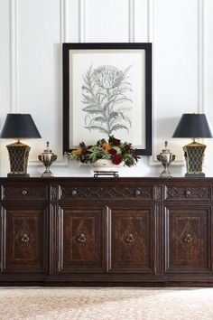 Store your extra dinnerware, flatware, and table linens in a buffet table or sideboard. Shop our great selection of stylish buffet tables and sideboards. Furniture Makeover, Home Furniture, Furniture Design, Furniture Legs, Sala Colonial, Dining Room Buffet, Stanley Furniture, Outdoor Dining Furniture, Home Furnishings