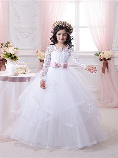 2016 Hot White Flower Girl Dresses Long Lace Sleeve Girls Pageant Dresses First Communion Dresses for Little Girls Ball Gown