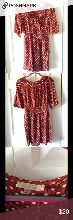 Polka-dot collared dress A fun burgundy polka-dotted 3/4 length sleeve collared dress! Only worn a few times and in great condition. Originally purchased at Francesca's! In the summer wear it with chestnut brown sandals, in the colder months with tights, boots and a chunky sweater! Francesca's Collections Dresses Long Sleeve