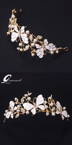 Butterfly Elegance Crystal Hair Crown Pearl Tiara Princess Rhinestone Wedding Hair Accessories Ornaments Hairband Prom Bride