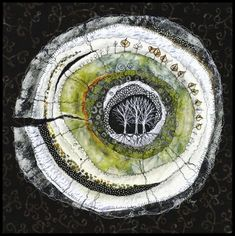 Lorraine Roy - Heartwood - Poplar circular textile art with trees Art Fibres Textiles, Textile Fiber Art, Textile Artists, Fiber Art Quilts, Art Quilting, Mandala, Creative Textiles, Quilt Modernen, Landscape Quilts