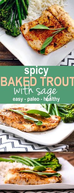 Spicy Baked Southwest Trout with Herbs! This baked trout is easy to make, paleo, and great use of herbs (like sage) and other spices! Lindsay - Cotter Crunch