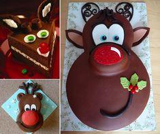 How to DIY Adorable Rudolph Red Nose Reindeer Cake Tutorial | www.FabArtDIY.com           #tutorial, #diy, #cake design  #reindeer cake  #Christmas cake  Follow us on Facebook ==> https://www.facebook.com/FabArtDIY