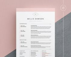Professional Resume Template 1 and 2 Page Resume Modern CV Adobe Indesign, Adobe Photoshop, Cover Letter Design, Cv Cover Letter, Cover Letter Template, Cover Design, Microsoft Word, Cv Template Word, Resume Templates