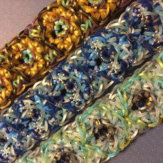This design uses a five bar loom with adjustable peg positions.  *Zuzu*   Winter Blooms Rainbowloom Bracelet