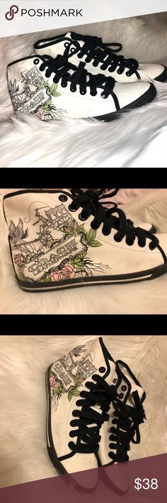 COACH Hi- Top Canvas Sneakers COACH Ariane F0007 High Top Sneakers off white with graphics. Rare hard to find, only worn once, too small for me. Size 5 1/2, suits narrow feet best. These are cute, fun and fabulous. Unique stylish hi top. AUTHENTIC COACH!!!! Couple dust marks on tip of shoe as shown in picture. Coach Shoes Sneakers