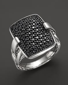 John Hardy Classic Chain Silver Rectangular Ring with Black Sapphire