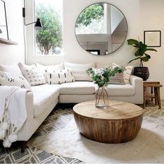 wall mirrorround mirror living room decor modern home decor houseplants unique modern living room ideas for your home - Pandriva awesome living room mirrors design ideas that you will admireStunning Awesome Living Living Room Mirrors, Living Room Modern, Living Room Interior, Home Living Room, Living Room Designs, Relaxing Living Rooms, Living Room With Beige Couch, Beige Couch Decor, Modern Living Room Decor