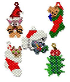 Christmas Icons 2 Collection by Charlotte Holley - Beaded Legends by Chalaedra Beaded Christmas Ornaments, Christmas Earrings, Christmas Jewelry, Christmas Crafts, Seed Bead Patterns, Peyote Patterns, Beading Patterns, Seed Bead Crafts, Beaded Crafts