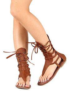 Fashion Bug Women Leatherette Tie-Up Mid Calf Gladiator Flat Sandal www.fashionbug.us #Shoes #FashionBug