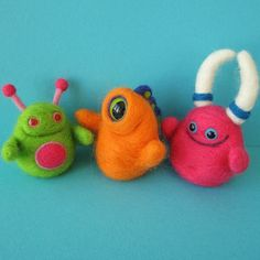 Larry, Moe and Curly the Finger Monster Puppets by squirrel momma