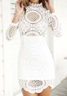 White Plain Hollow-out Lace Wavy Edge Band Collar Long Sleeve Mini Dress - Mini Dresses - Dresses