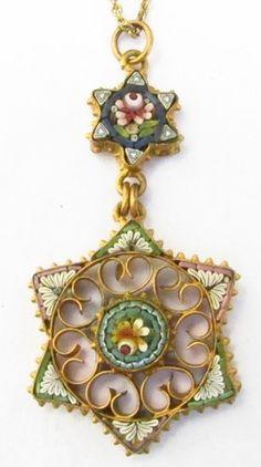 Micromosaic | Vintage Micromosaic Pendant | Vintage Jewelry