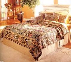 A complete set of William Morris co-ordinated bedding with rich reds and strong blues highlighting a typical Arts & Crafts style. Tapestry Bedding, Bed, How To Dress A Bed, Bed Styling, William Morris, Morning Room, Bed Linens Luxury, Home Decor, Room