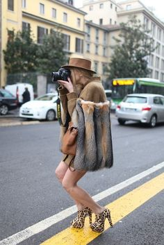 Fur and leopard booties.