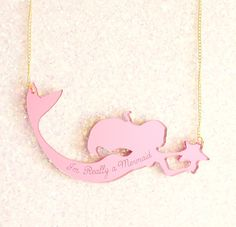 I'm Really a Mermaid Pink Necklace by ilovecrafty on Etsy, £20.00