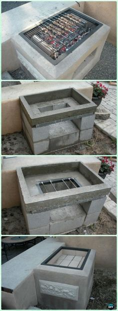 DIY Open Concrete Grill Instruction - DIY Backyard Grill Projects Relaxing Outdoor Kitchen Ideas for Happy Cooking & Lively Party Outdoor Kitchen Countertops, Backyard Kitchen, Outdoor Kitchen Design, Backyard Bbq, Concrete Backyard, Kitchen Grill, Diy Concrete, Kitchen Rustic, Modern Backyard
