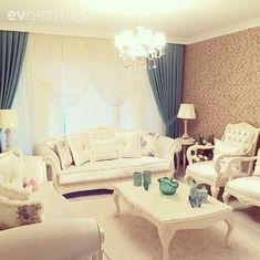 Salon, Sehpa, Mavi, Beyaz, Duvar kağıdı, Fon perde