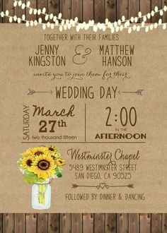 Sunflower Wedding Invitation Mason Jar Rustic by HazelNutInvites