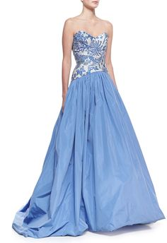 O'Neill Theia by Don Strapless Butterfly/Floral-Bodice Ball Gown, China Blue/White on shopstyle.com