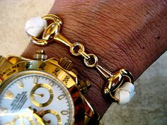 Thick Braided White Leather Bracelet with Gold Equestrian Snaffle Bit and Gold Plated Magnetic Clasp   by BeachSideLeathers, $18.99