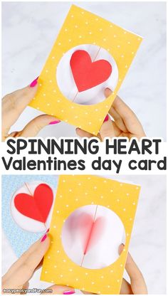 Spinning heart valentines day card for kids valentines day cards handmade, valentine crafts for kids Arts And Crafts For Teens, Valentine's Day Crafts For Kids, Valentine Crafts For Kids, Fun Diy Crafts, Mothers Day Crafts, Kid Crafts, Creative Crafts, Valentines Day Cards Handmade, Kinder Valentines