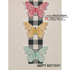 Butterflies with Black Checkered Background - The 2019 Occasions Catalogue has lots of butterflies in varying shapes and styles so I just had to make this card using Butterflies with Black Checkered Background!  The coordinating Butterfly Duet Punch is a perfect addition to your crafting tools.  It will cut out the sets of butterflies no matter which set you choose to stamp!
