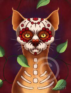 """'""""Dulce Gato"""" Sugar Scull Cat Fine Art Print' Mini Poster"""