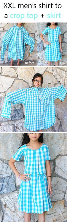 XXL men's shirt into a girls crop top + skirt #sproutbyHP #CIY