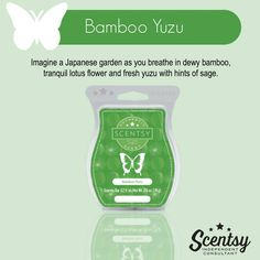 Scentsy's Bamboo Yuzu available in a wax bar, scent cirlce, and a room spray. https://gretajansen.scentsy.us/Buy/Search?query=bamboo