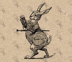 Vintage Alice in Wonderland White Rabbit Instant Download Digital printable vintage clipart graphic for home decor prints craft HQ 300dpi by UnoPrint on Etsy